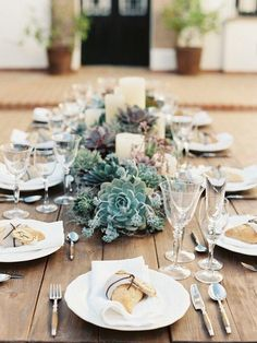 Succulent Centerpieces via http://belleandchic.com/rustic-andalusia-cortijo-wedding-with-succulents-from-joseba-sandoval/ ~ Flower bouquets are always gorgeous, but we also love the idea of using faux succulents! #tablescapes
