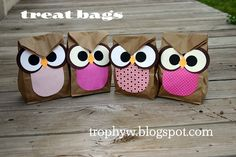 Owl Treat Bags - made from brown paper sacks. Perfect for my owl theme! Owl Treat Bags, Owl Bags, Owl Treats, Owl Snacks, Paper Sack, Baby Owls, Bag Making, Crafts For Kids, Wraps
