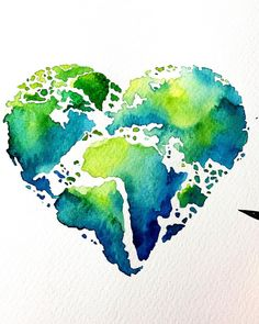 This picture already was here, but I want to repost it becaus Earth Drawings, Drawing Of Earth, Mother Earth Drawing, Mother Earth Tattoo, Earth Day, Planet Earth, Pictures To Paint, Watercolor Paintings, Watercolor Sketch