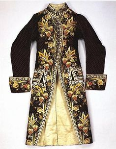 Jacket, Habit de la francaise, silk velvet with polychrome embroidery, French, late 1780s. Metropolitan Museum of Art.