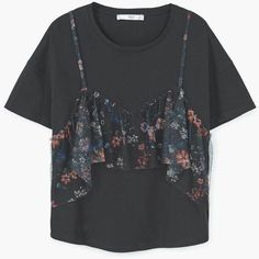 Double-Layer Cotton T-Shirt ($22) ❤ liked on Polyvore featuring tops, t-shirts, layering t shirts, floral print tee, layered tops, double layer tee and floral tee