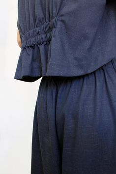 Matching set with a loose fitting pants and an oversized cropped top High waisted culottes with side pockets. Cropped leg pants with an elastic waist in the back and on the sides.  HANDMADE PRODUCT Edition: Exclusive piece  Color: Blue  Fabric: 50% Linen, 50% Cotton   One Size Fits Most   Top:  Bust: 128 cm / 50 inches Kimono Sleeve Length: 23cm / 9 inches Total Sleeve Edge (all around): 32 cm / 12 inches Total Length (front): 43 cm / 16 inches Total Length (back): 50 cm / 19 inches  Pants…