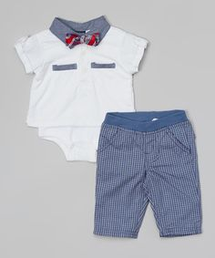 Look at this Nannette Baby Light Beige & Blue Polo Bodysuit Set - Infant on #zulily today!