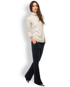 Drykorn SNAP High Waist Damenhose Dunkelblau  - elegante High Waist Damenhose von Drykorn in Dunkelblau - Bund mit Gürtelschlaufen und Reißverschluss - Bundfalten - ausgestelltes Bein - seitliche Einschubtaschen - paspelierte Gesäßtaschen