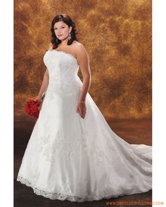 Traditional Princess Applique Organza Zipper Back Affordable Plus size Wedding Dress for lady 2013