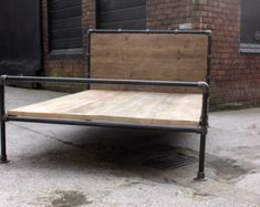 Amy Dark Steel Pipe and Reclaimed Industrial Scaffolding Board Double Bed Frame - Its urban industrial design works perfectly in a sophisticated, casual sleeping space. This bed can be made to measure to your own s. Diy Bed Frame, Dark Steel, Industrial Furniture, Furniture, Double Bed Frame, Double Beds, Industrial Bed Frame, Single Bed Frame, Bed Furniture