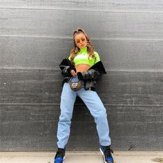 Neon Green - Newest Color Trend - FashionActivation Green Top Outfit, Neon Green Outfits, New Fashion Trends, Fashion News, Fashion Outfits, Fashion 2018, Neon Crop Top, Crop Tops, Green Fashion