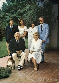 Prince Rainier III, Princess Grace, Philippe Junot, Princess Caroline, Princess Stephanie, and Daniel Ducruet