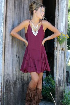 Pretty Petals Burgundy Layered Ruffle Slip Dress With Adjustable Straps