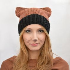 Knit Cat Ear Hat Cat Beanie or Knitted Cat Hat by SlouchyBeanie