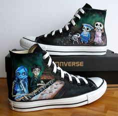 Custom  Hand Painted Converse Shoes Corpse Bride Any by BeressyArt, £95.00