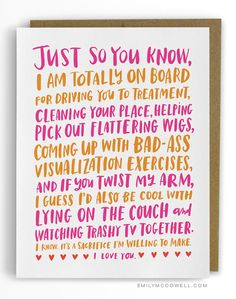 A Cancer Survivor Shares How NOT to Comfort Someone Who's Ill  http://www.womenshealthmag.com/life/emily-mcdowell-empathy-cards