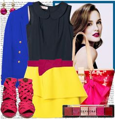 """Leighton Meester - Color Blocking look"" by karineminzonwilson on Polyvore"