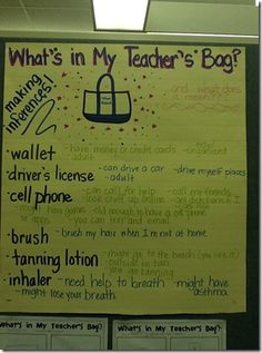 Inferences - teacher's bag. This is an engaging lesson and can be modified for all grades! My students loved this.