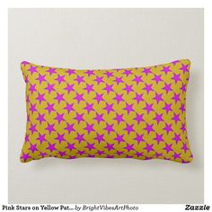 Shop Pink Stars on Yellow Pattern Lumbar Pillow created by BrightVibesArtPhoto. Lumbar Pillow, Throw Pillows, Yellow Pattern, Pink Stars, Colorful Pillows, Star Sky, Yellow Background, Star Patterns, Custom Pillows
