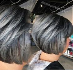 Top 9 Black Hair with Blonde Highlights Ideas in 2019 - Style My Hairs Black Hair With Grey Highlights, Silver Hair Highlights, Black And Silver Hair, Silver Hair Colors, Short Silver Hair, Gray Balayage, Hair Color Balayage, Sombre Hair, Short Hair Cuts For Women