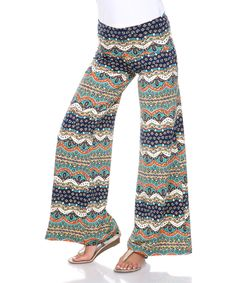 Love this White Mark Teal & Navy Scallop Palazzo Pants by White Mark on #zulily! #zulilyfinds