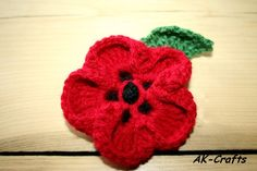 How to Crochet a Poppy Flower by Andrea Kefeder / akcrafts. Knitted Poppy Free Pattern, Crochet Poppy, Poppy Pattern, Crochet Leaves, Knitted Poppies, Knitted Flowers, Knitting Patterns, Crochet Patterns, Crochet Appliques