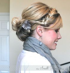 Pretty updo with a side braid. Love this look! Would be perfect for a party or even every day.