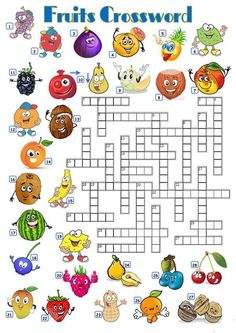 A crossword for practicing vocabulary for the names of fruits. Key for the crossword given. Math Subtraction Worksheets, First Grade Math Worksheets, School Worksheets, Kindergarten Worksheets, Printable Crossword Puzzles, Phonics Rules, Blends And Digraphs, Fruits For Kids, School Games