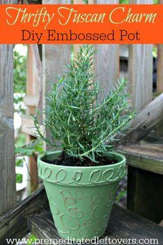 DIY Embossed Terra Cotta Pot