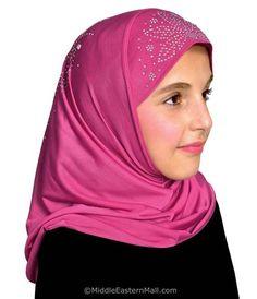 Cotton Jersey Hoodie Hijab 2 Tone Easy Instant Islamic Headscarf  with Rhineston