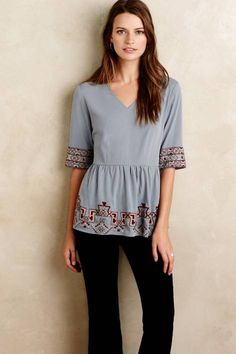 Skirted Calipha Blouse by KAS New York | Pinned by topista.com