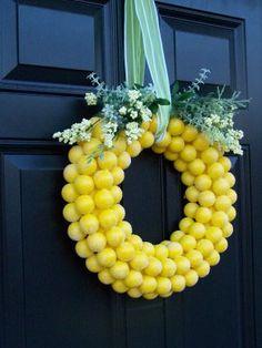 Spray painted ping pong ball wreath (to resemble lemonhead wreath) - tutorial Diy Spring Wreath, Spring Door Wreaths, Easter Wreaths, Diy Wreath, Wreath Ideas, Wreath Making, Christmas Wreaths For Front Door, Christmas Diy, Lemon Wreath