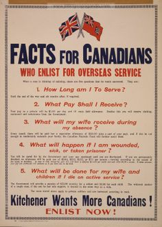 Militarism/Imperialism. Another British recruitment poster. England had over the years fallen behind Germany in military strength. England hoped to gain more manpower by recruiting men from its western colony Canada which was still governed by the UK and had the king of England as the head of state. This was a good example of how Britain was able to use its empire.