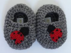 Lady Bug Teddy Bear Slippers by PattisProjects on Etsy