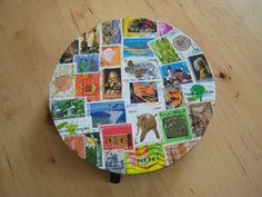 Dessous de plat en bois + timbres