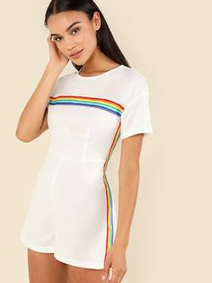 Shop Mock Neck Striped Romper online. SheIn offers Mock Neck Striped Romper & more to fit your fashionable needs. Mock Neck, Skirt Fashion, Fashion Outfits, Womens Fashion, Teen Fashion, Romper Suit, Playsuit, Boutique Clothing, Sporty Outfits