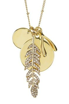Feather & Wishbone Cluster Charm Necklace by N' Luxe on @HauteLook