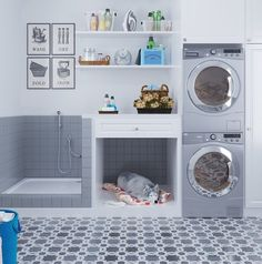 Laundry Room & Mudroom Inspiration in Soothing Shades of Gray with a Dog Washing Station Mudroom Laundry Room, Laundry Room Layouts, Laundry Room Remodel, Small Laundry Rooms, Laundry Room Organization, Laundry Room Design, Laundry Room Floors, Laundry Room With Sink, Outside Laundry Room