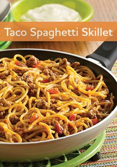 In just 30 minutes you can make this better-for-you Taco Spaghetti Skillet.