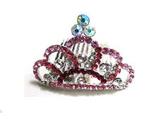 Mini Rhinestone Hair Comb Tiara --- Pink >>> Check out this great product.