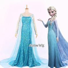 Frozen Elsa Princess Queen Adult Blue Dress Cosplay Anime Blonde Wig Costume