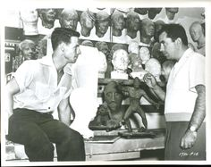 Ricou Browning and Bud Westmore behind the scenes of Creature From the Black Lagoon (1954)