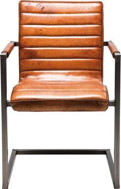 Stuhl Freischwinger Schwingstuhl Bürostuhl Armlehnstuhl Braun NEU KARE Design