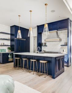 Blue Kitchen Cabinets - - Modern White Interior - House from Full House Source by cristencasados Look Interior Modern, Blue Kitchen Interior, Dark Blue Kitchen Cabinets, White House Interior, Interior Simple, Home Decor Kitchen, Blue Kitchen Ideas, Blue Kitchen Inspiration, Blue Kitchen Designs