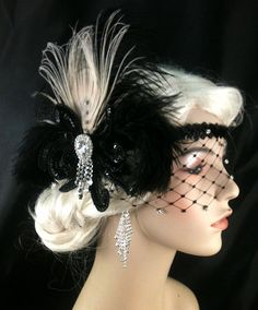 Flapper Headband,1920s Head Piece, Art Deco Headband, Ivory Peacock Feather, Black Ostrich Plumes, Black Sequins, Veil, Great Gatsby on Etsy, $125.00