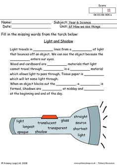 PrimaryLeap.co.uk - Light and shadow Worksheet