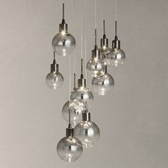 Buy John Lewis Dano LED Ombre Glass Ceiling Light, 10 Light, Black/Chrome Online at johnlewis.com. For over dining room table?