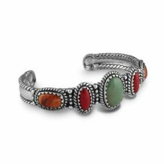 "Sterling Silver Green Turquoise Coral Orange Spiny Oyster Shell Cuff Bracelet - Large Southwest Spirit. $95.99. Lifetime Warranty on Jewelry. 6-1/2"" Inside Circumference, Measures 3/4"" W at Widest Point. Natural Gemstone: Turquoise, Coral, Spiny Oyster Shell. Genuine .925 Sterling Silver. Proudly Made in the USA"