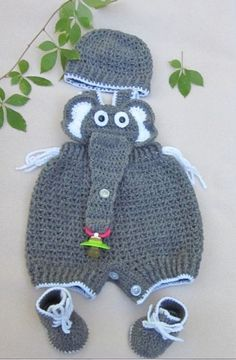 Crochet Baby Infant Romper Elephant Set, Grey Crochet Overall, Elephant Coverall, Elephant Romper. Newborn photo prop. Crochet Baby Outfit.
