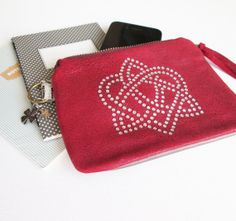 SALE // St. Patrick's Day // Red Loveknot // Leather Zipper Coin Purse // Bag Celtic Knot // Crystal Heart Love // Valentine's Day