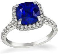 Estate 3.11ct Sapphire 0.50ct Diamond Engagement Ring