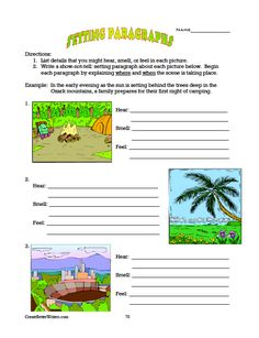 Worksheet to help students learn to write descriptive settings. From The Complete Writing Program which includes the free eBook How to Teach the Five Paragraph Essay. Meets multiple Common Core standards. ($)