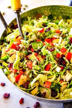 Cranberry Apple Shaved Brussels Sprouts Salad
