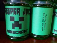 Halloween Minecraft drinks labels 2014 - creeper, juice, party